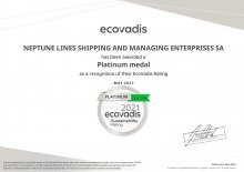 Neptune Lines has been awarded a Platinum EcoVadis Medal - Media Gallery